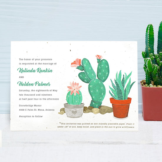 These Blooming Cactus Seed Paper Wedding Invitations are embedded with NON-GMO wildflower seeds!