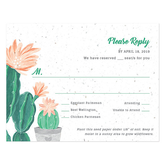 These Blooming Cactus Seed Paper Reply Cards will honor the planet by reducing waste.
