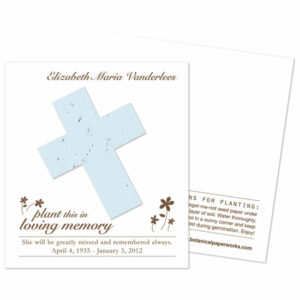 Cross seed memorial cards