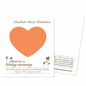 Plantable heart memorial cards