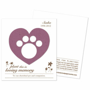 Plantable paw print memorial cards