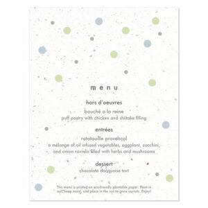 Plantable polka dots menu cards