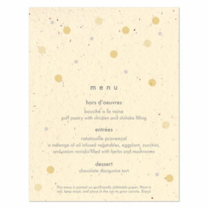 Plantable polka dots menu cards
