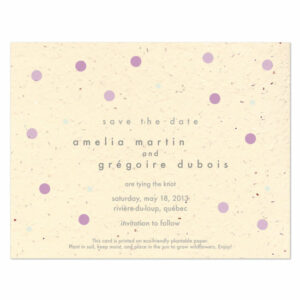 Plantable polka dots save the date cards