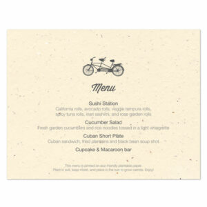 Plantable Tandem Bicycle Menu Cards