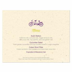 Plantable Tandem Bicycle Menu Cards