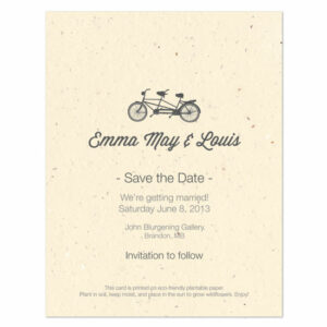 Plantable Tandem Bicycle Save The Date Cards