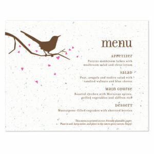 Song Plantable Menu Cards
