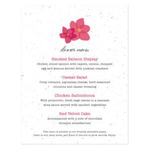 Fresh Flowers Plantable Menu Cards: Modern Duo