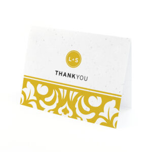 Plantable Modern Damask Thank You Cards