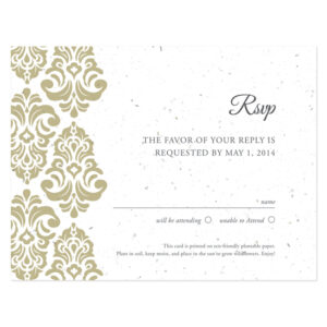 Plantable Classic Damask Reply Cards