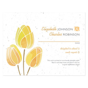 Watercolor Tulips Plantable Reply Cards