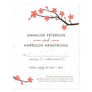 Plantable Cherry Blossom Reply Cards