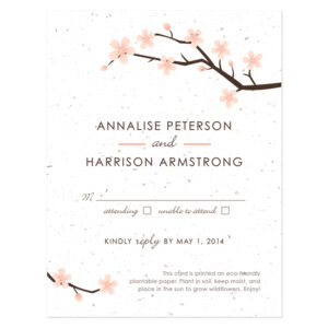 Plantable Cherry Blossom Reply Cards