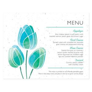 Watercolor Tulips Plantable Menu Cards