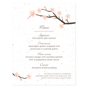 Cherry Blossom Plantable Menu Cards