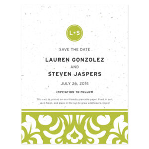 Plantable Modern Damask Save The Date Cards