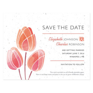 Watercolor Tulips Plantable Save The Date Cards