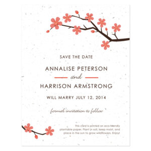 Plantable Cherry Blossom Save The Date Cards