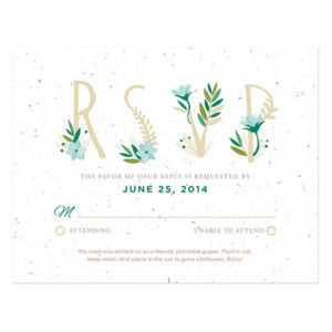 Floral Letters Plantable Reply Cards