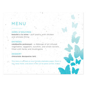Ombre Butterfly Seed Paper Menu Cards