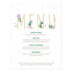 Floral Letters Plantable Menu Cards