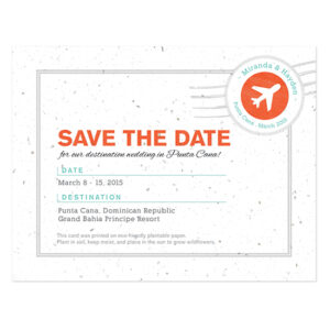 Boarding Pass Plantable Save The Date Cards