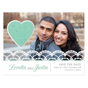 Lace Seed Paper Heart Save The Date Cards