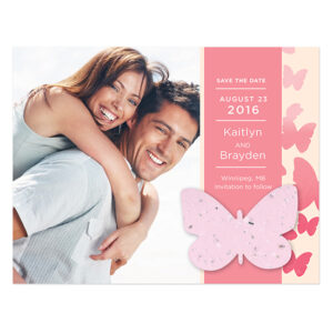 Ombre Seed Paper Butterfly Save The Date Cards
