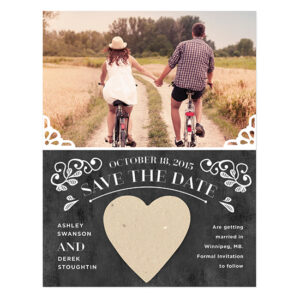Vintage Seed Paper Heart Save The Date Cards