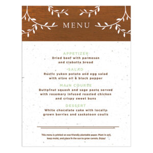 Classic Wood Grain Plantable Menu Cards