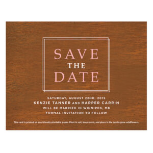 Classic Wood Grain Plantable Save The Date Cards