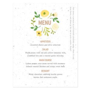 Painterly Florals Plantable Menu Cards