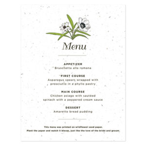 Love Grows Seed Menu Cards