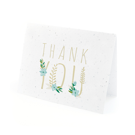 Floral Letters Plantable Thank You Cards