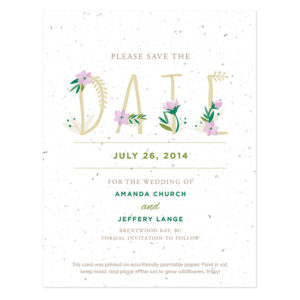 Floral Letters Save The Date Cards