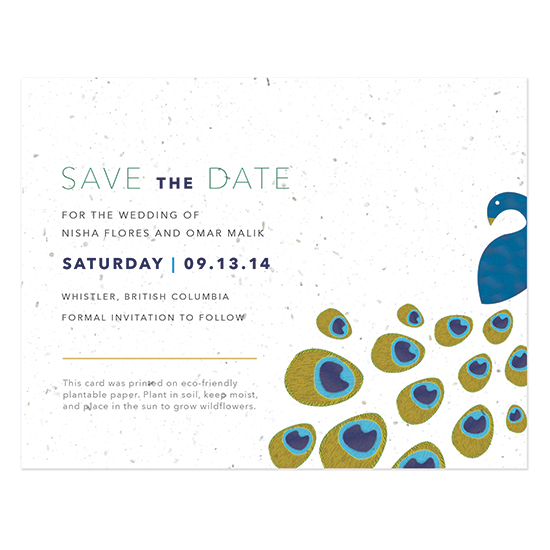 Peacock Seed Paper Save The Date Cards
