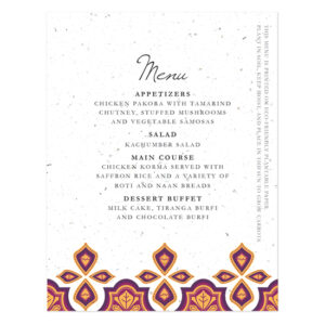 Indian Motif Plantable Menu Cards