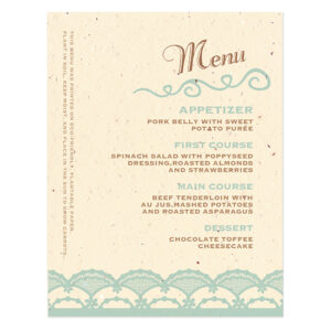 Rustic Lace Plantable Menu Cards