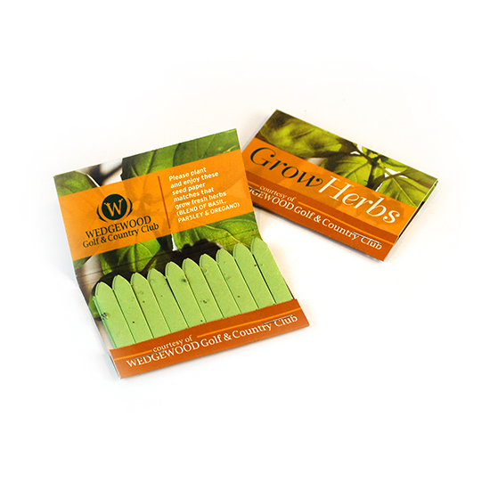 Large Herb Seed Paper Matchbooks, Double-Sided