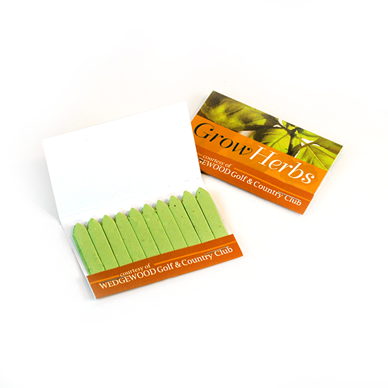 Large Herb Seed Paper Matchbooks, Single-Sided