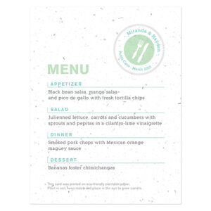 Boarding Pass Plantable Menu Cards