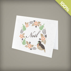 French Partridge Wreath Corporate Holiday Cards
