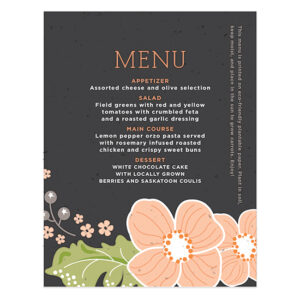 Ornate Floral Plantable Menu Cards