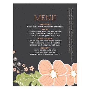 Ornate Floral Plantable Menu Cards