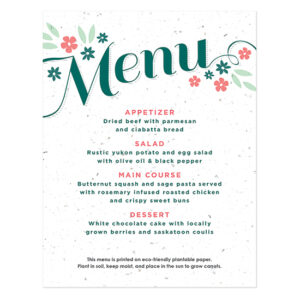 Secret Garden Plantable Menu Cards