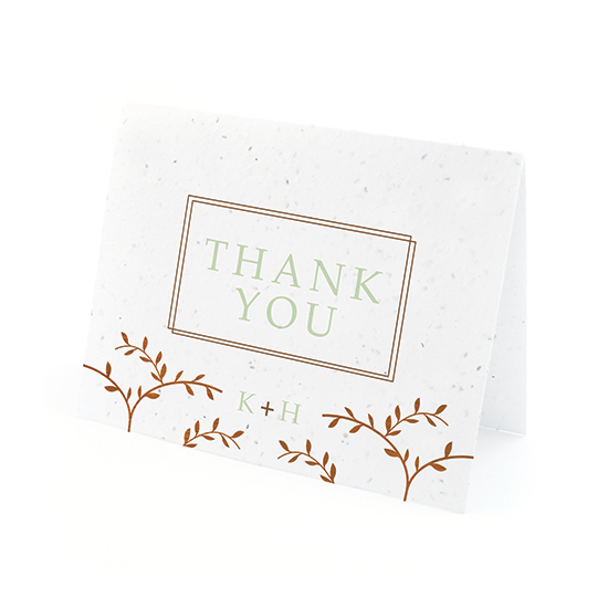 Classic Wood Grain Plantable Thank You Cards