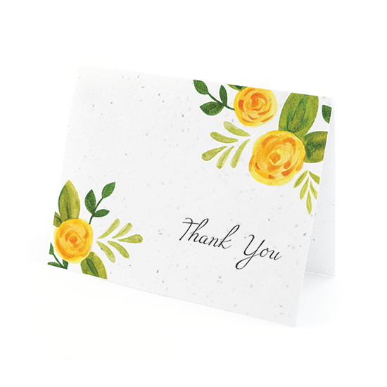 Watercolor Roses Plantable Thank You Cards