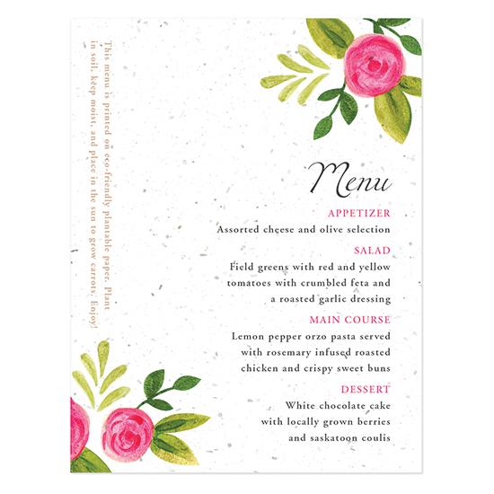 Watercolor Roses Plantable Menu Cards