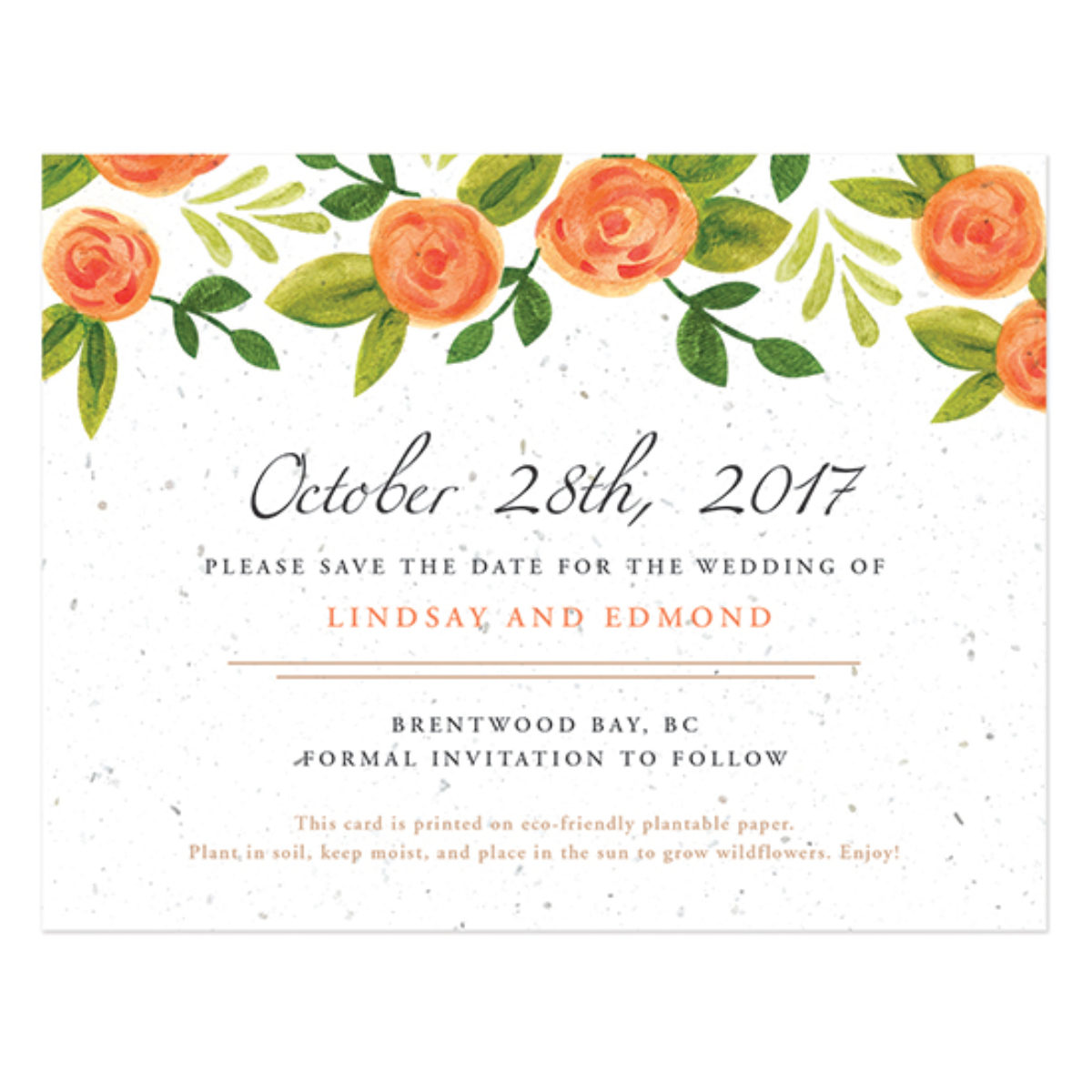 Plantable Seed Paper Eco-friendly Sustainable Biodegradable Wedding Save the Date Invitation Roses